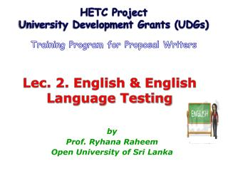 Lec. 2. English  English Language Testing