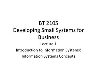 BT 2105 Developing Small Systems for Business