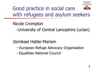 Good practice in social care with refugees and asylum seekers