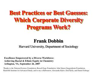 Best Practices or Best Guesses: Which Corporate Diversity Programs Work?