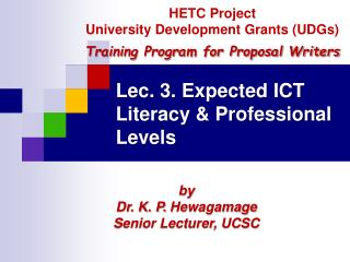 Lec. 3. Expected ICT Literacy  Professional Levels