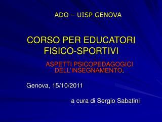 CORSO PER EDUCATORI FISICO-SPORTIVI