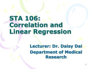 STA 106:  Correlation and Linear Regression