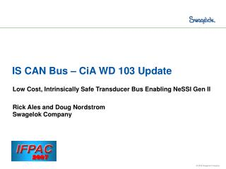 IS CAN Bus   CiA WD 103 Update