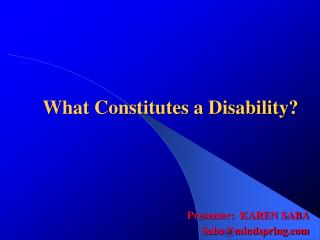 What Constitutes a Disability