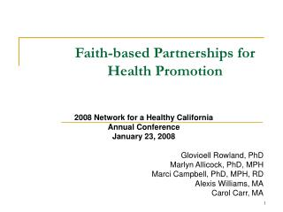 Faith-based Partnerships for Health Promotion