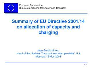 Summary of EU Directive 2001