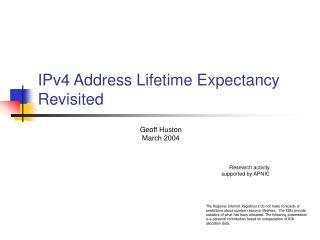 IPv4 Address Lifetime Expectancy Revisited