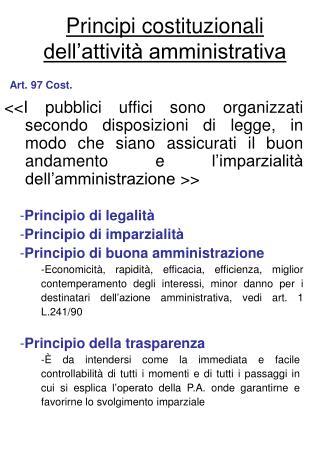 Principi costituzionali dell attivit  amministrativa