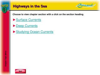 Choose to view chapter section with a click on the section heading. Surface Currents Deep Currents Studying Ocean Curren