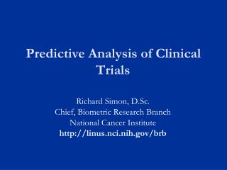 Predictive Analysis of Clinical Trials
