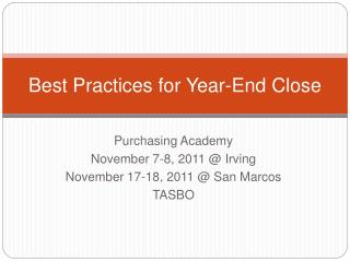 Best Practices for Year-End Close