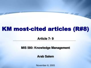 KM most-cited articles R8