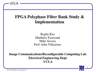 FPGA Polyphase Filter Bank Study  Implementation