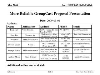 More Reliable GroupCast Proposal Presentation