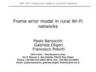 Frame error model in rural Wi-Fi networks