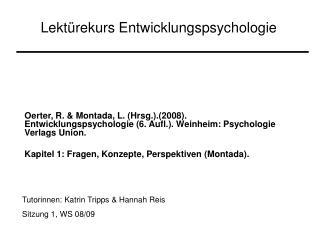 Lekt rekurs Entwicklungspsychologie