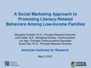 A Social Marketing Approach to Promoting Literacy-Related Behaviors Among Low-Income Families