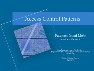 Access Control Patterns
