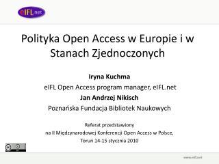 Polityka Open Access w Europie i w Stanach Zjednoczonych