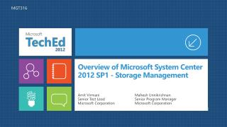 Overview of Microsoft System Center 2012 SP1 - Storage Management
