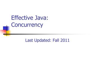Effective Java: Concurrency