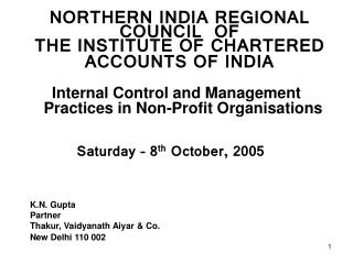 NORTHERN INDIA REGIONAL COUNCIL  OF  THE INSTITUTE OF CHARTERED  ACCOUNTS OF INDIA