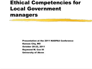 Ethical Competencies for Local Government managers