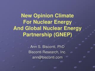 Ann S. Bisconti, PhD Bisconti Research, Inc. annbisconti