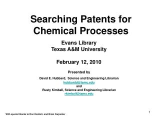 Searching Patents for Chemical Processes
