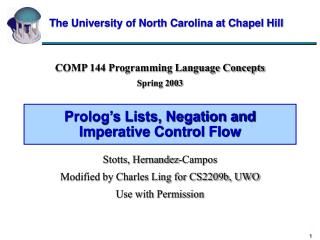 Prolog s Lists, Negation and Imperative Control Flow
