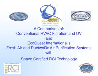 A Comparison of: Conventional HVAC Filtration and UV  and  EcoQuest International s  Fresh Air and DuctwoRx Air Purifica