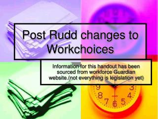 Post Rudd changes to Workchoices