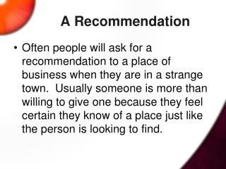 A Recommendation