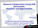 Research Collaboration among GU8 Universities: Prospects and Opportunities