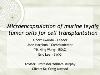Microencapsulation of murine leydig tumor cells for cell transplantation