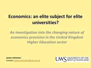 Economics: an elite subject for elite universities