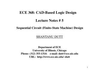 ECE 368: CAD-Based Logic Design