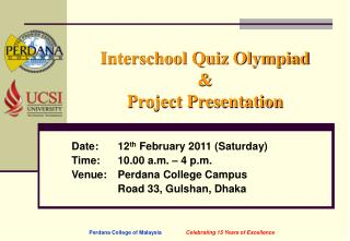 Interschool Quiz Olympiad  Project Presentation