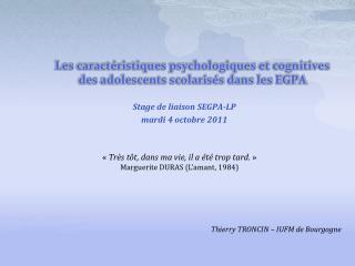 Les caract ristiques psychologiques et cognitives des adolescents scolaris s dans les EGPA