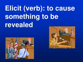 Elicit verb: to cause something to be revealed