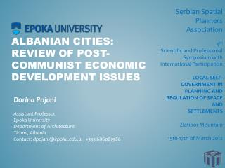 Albanian Cities:  Review of Post-Communist Economic Development Issues