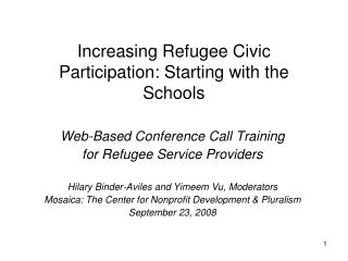 Increasing Refugee Civic Participation: Starting with the Schools