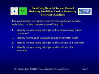 Identifying Basic Meter and Hazard Reducing Guidelines Used in Measuring Electrical Quantities