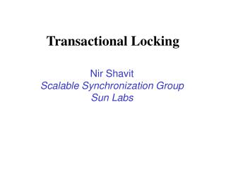 Transactional Locking