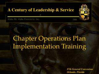 Chapter Operations Plan Implementation Training