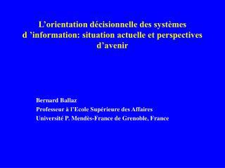 L orientation d cisionnelle des syst mes d  information: situation actuelle et perspectives d avenir