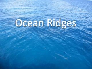 A mid-ocean ridge is an underwater mountain range, typically having a valley known as a rift running along it s spine, f