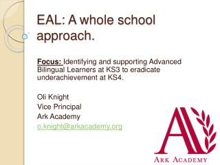 EAL: A whole school approach.