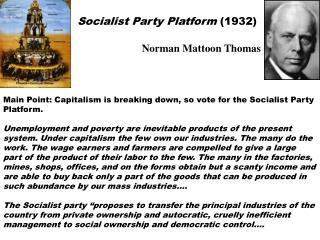 Socialist Party Platform 1932
